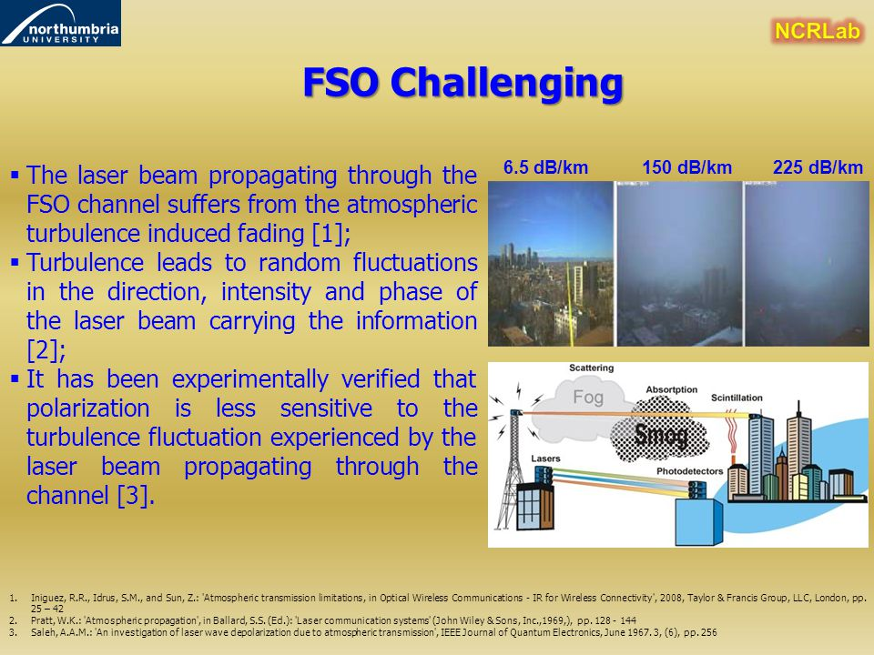 NCRLab FSO Challenging. The laser beam propagating through the FSO channel suffers from the atmospheric turbulence induced fading [1];